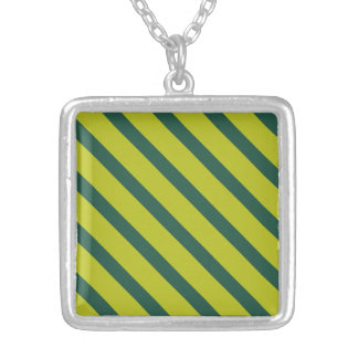 Green Diagonal Stripe Personalized Necklace