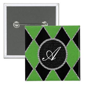 Green diamond monogram sparkle button
