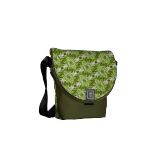 Green Diamond Pattern Messenger Bag