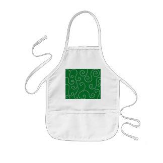 Green diamonds swirls kids' apron