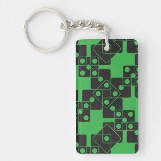 Green Dice Double-Sided Rectangular Acrylic Key Ring