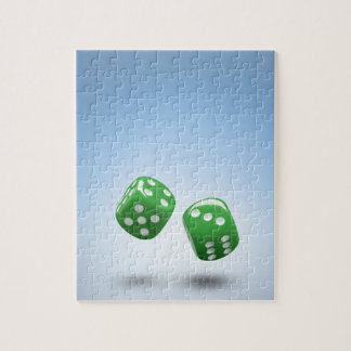 Green dice jigsaw puzzle