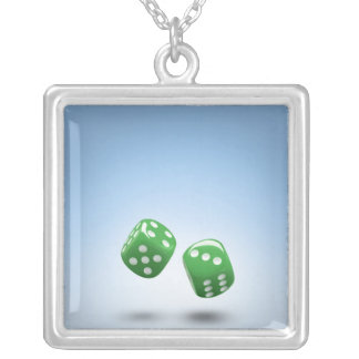 Green dice silver plated necklace