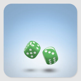 Green dice square sticker