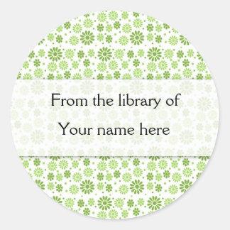 Green Digital Flowers Personalised Bookplates Round Sticker