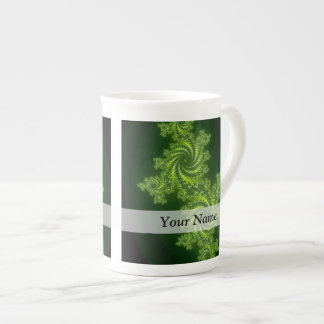 Green  digital fractal pattern tea cup
