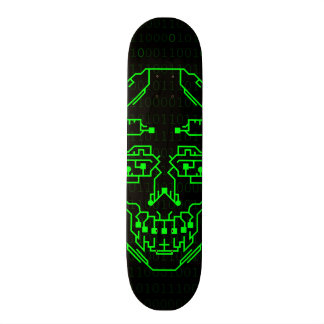 Green DIgitial Binary Skull Skateboard