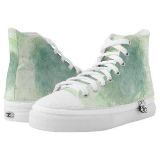 Green Dimension Flower Hi Top Printed Shoes