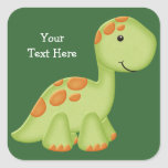 Green Dino (customisable) Square Sticker