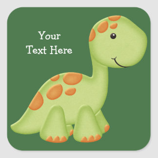 Green Dino (customizable) Square Sticker
