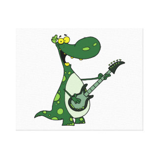 green dino holding guitar graphic canvas prints