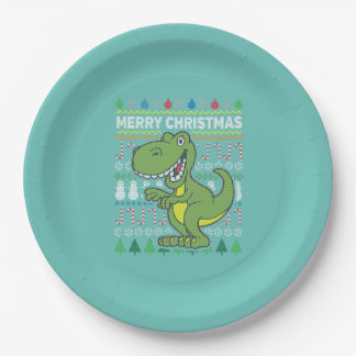Green Dino Wildlife Merry Christmas Ugly Sweater 9 Inch Paper Plate