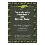 Green Dinosaur Birthday Invitation
