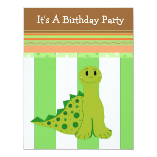Green Dinosaur Birthday Invitation