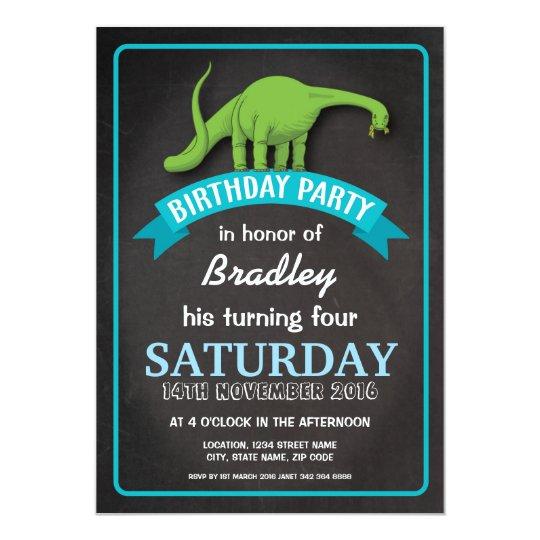 Green Dinosaur Chalkboard Boy Blue Custom Birthday Card