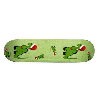 Green Dinosaur in a Santa Hat for Christmas 19.7 Cm Skateboard Deck