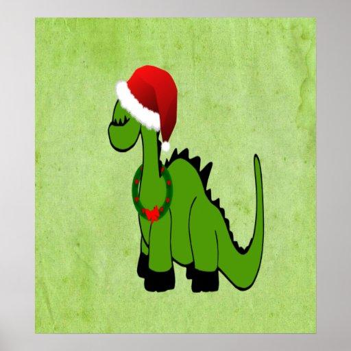 Green Dinosaur in a Santa Hat for Christmas Poster