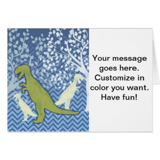 Green Dinosaur on Zigzag Chevron - Blue and White Greeting Card