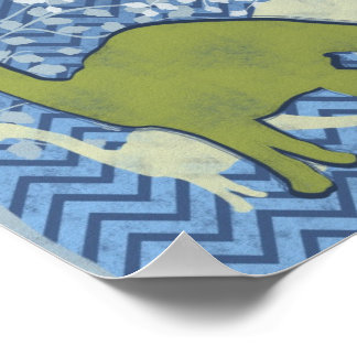 Green Dinosaur on Zigzag Chevron - Blue and White Poster