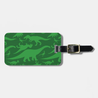 Green Dinosaur Pattern Luggage Tag