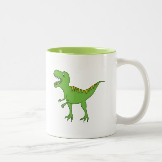Green Dinosaur+Personalise Name Two-Tone Coffee Mug