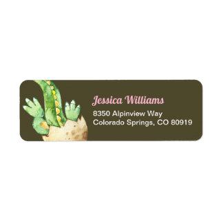 Green Dinosaur, Pink Name Return Address Label