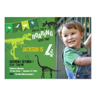 Green Dinosaur Roaring Boys Birthday Invitation