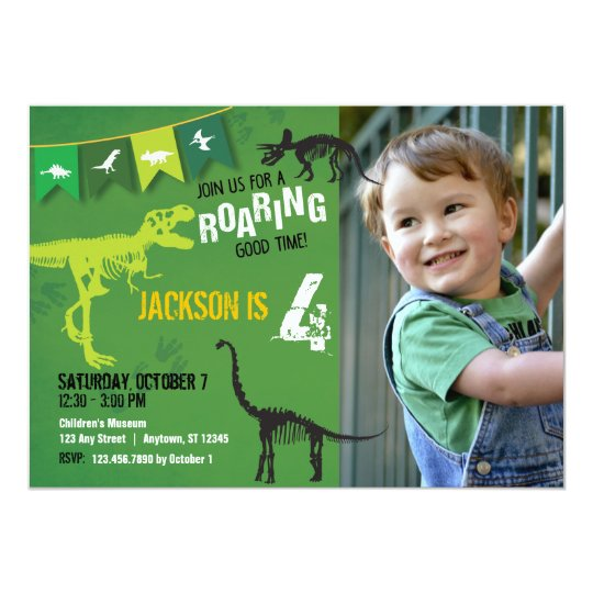 Green Dinosaur Roaring Boys Birthday Invitation