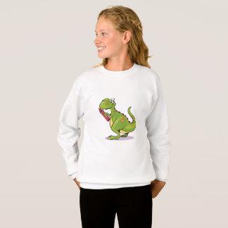Green Dinosaur Wit Big Red Crayon Sweatshirt