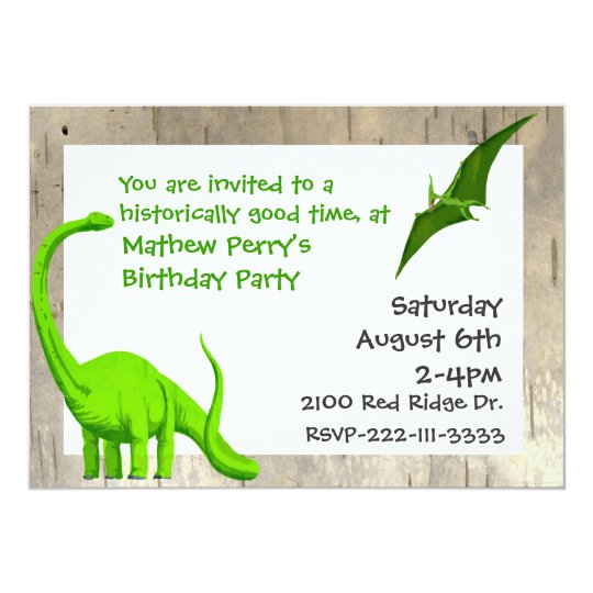 Green Dinosaurs Birthday Invitation