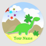Green Diplodocus Dinosaur Name Sticker