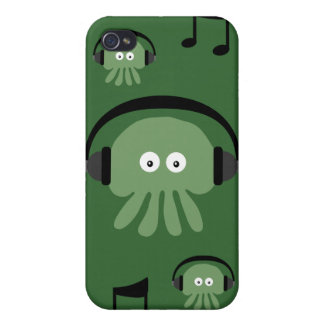 Green DJ Jellyfish & Musical Notes Customizable Cases For iPhone 4