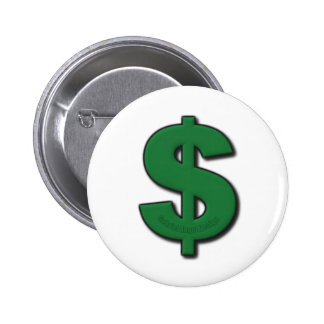 Green Dollar Sign 6 Cm Round Badge