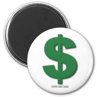 Green Dollar Sign with Beveled Style 6 Cm Round Magnet