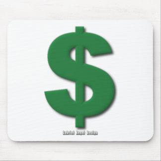 Green Dollar Sign with Beveled Style Mouse Pad