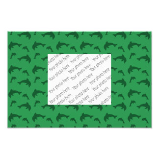 Green dolphin pattern photographic print