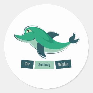 Green Dolphin Round Sticker