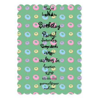 Green donut pattern 13 cm x 18 cm invitation card