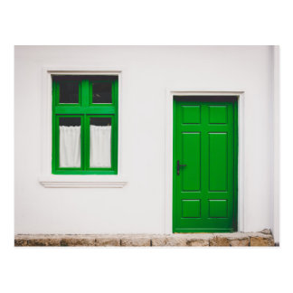 Green Door, Green Window Art Postcard