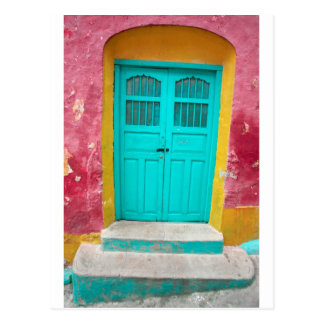 Green doors quaint wooden entrance postcard