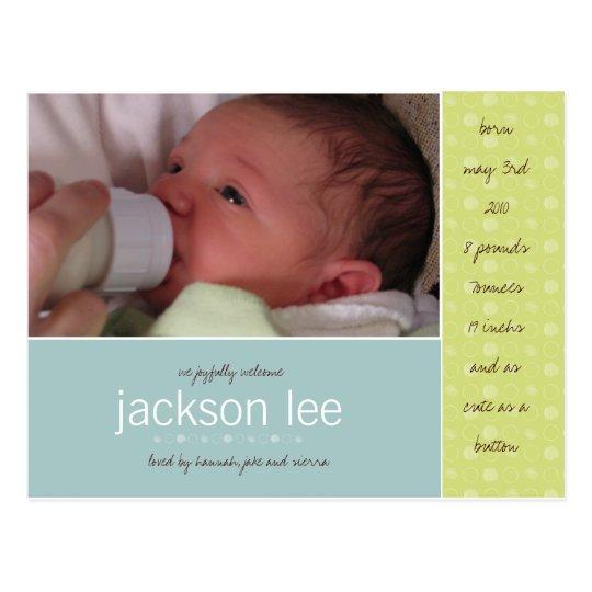 Green Dot Baby Announcement Postcard