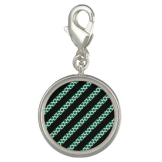 Green Dot Black Stripe Round Charm