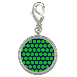 Green Dot Blue Round Charm
