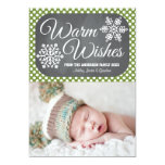 Green Dot Chalkboard Snowflake Holiday Photo Card Custom Announcements