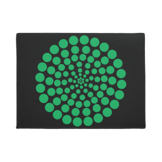 GREEN DOT PRINT. CUSTOMIZABLE BACKGROUND COLOUR. DOORMAT