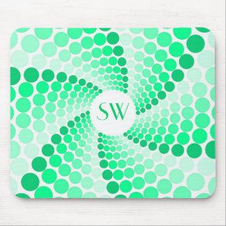 Green Dot Swirl Mouse Pad