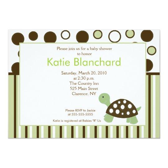 Green Dot Turtle Modern 5x7 Baby Shower Card