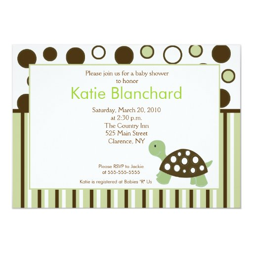 Green Dot Turtle Modern 5x7 Baby Shower 13 Cm X 18 Cm Invitation Card
