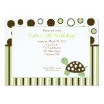Green Dot Turtle Modern 5x7 Birthday Invitation