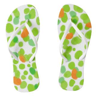Green dots 2017 nature Custom Adult, Slim Straps Flip Flops